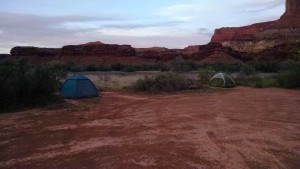 Two of our five tents... me on the left